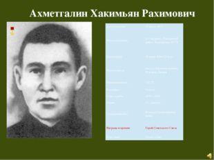 Ахметгалин Хакимьян Рахимович Дата рождения 15 июня 1923 Месторождения д.Саф