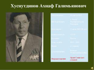 Хуснутдинов Ахнаф Галимьянович Дата рождения 28 апреля 1925 Месторождения с.