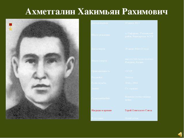 Ахметгалин Хакимьян Рахимович Дата рождения 15 июня 1923 Месторождения д.Саф...