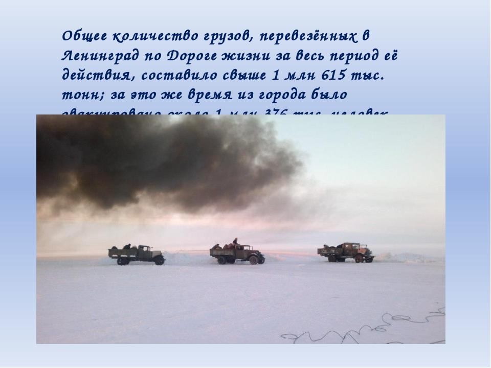 Общее количество грузов, перевезённых в Ленинград по Дороге жизни за весь пер...