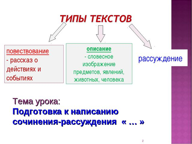 * рассуждение повествование - рассказ о действиях и событиях описание - слове...