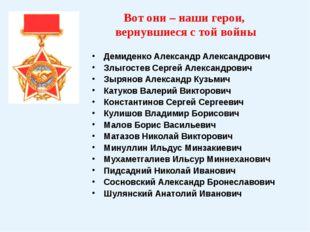 Вот они – наши герои, вернувшиеся с той войны Демиденко Александр Александров