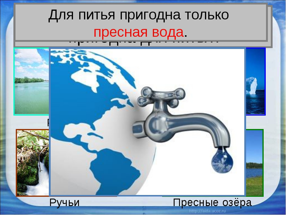 Вся ли вода на Земле пригодна для питья? Реки Ледники Ручьи Пресные озёра Для...