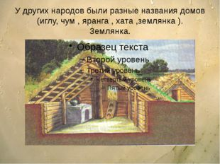 У других народов были разные названия домов (иглу, чум , яранга , хата ,земля