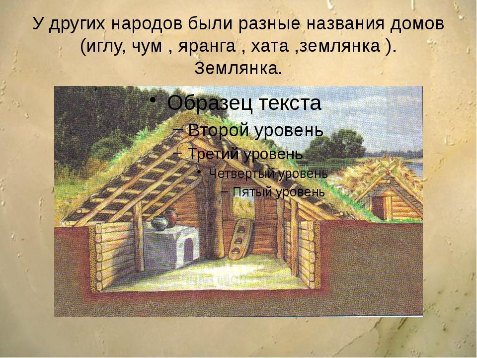 У других народов были разные названия домов (иглу, чум , яранга , хата ,земля...