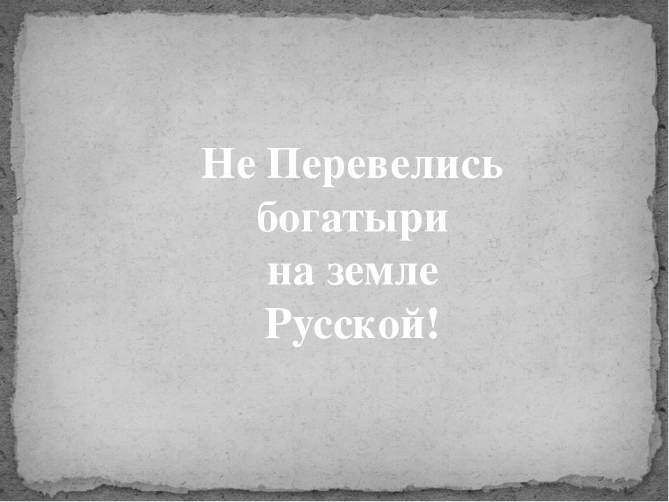 Не Перевелись богатыри на земле Русской!