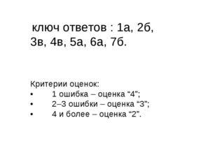 ключ ответов : 1а, 2б, 3в, 4в, 5а, 6а, 7б. Критерии оценок: •1 ошибка – оце