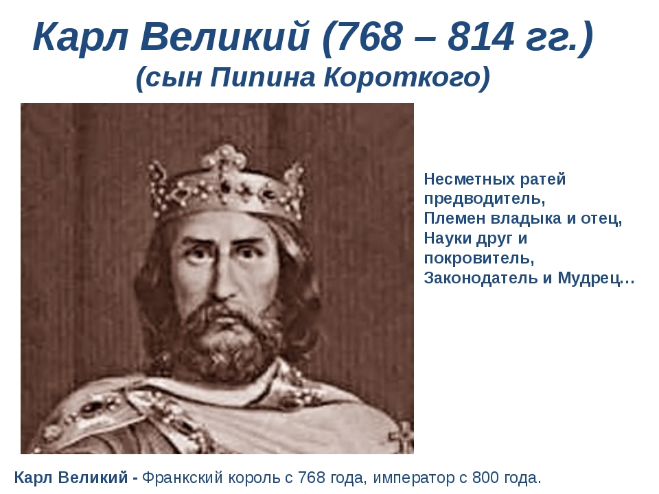 Карл Великий (768 – 814 гг.) (сын Пипина Короткого) ...