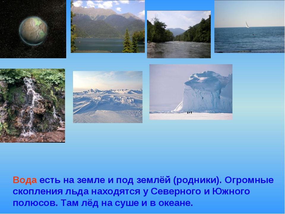 Вода есть на земле и под землёй (родники). Огромные скопления льда находятся...