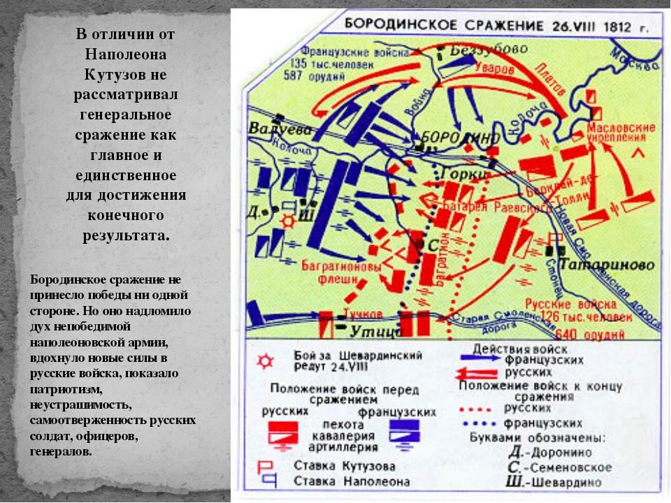 В отличии от Наполеона Кутузов не рассматривал генеральное сражение как главн...