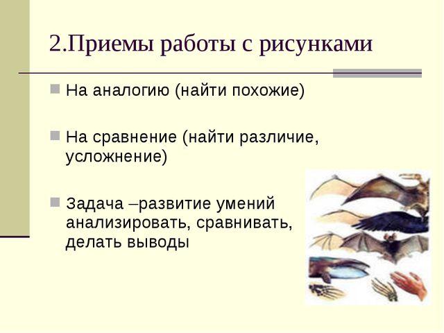 2.Приемы работы с рисунками На аналогию (найти похожие) На сравнение (найти р...