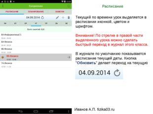 Расписание Иванов А.П. fizika03.ru Текущий по времени урок выделяется в распи