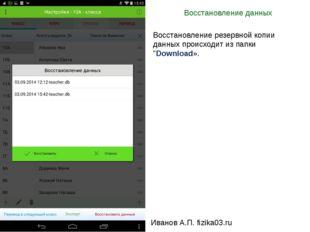 Восстановление данных Иванов А.П. fizika03.ru Восстановление резервной копии