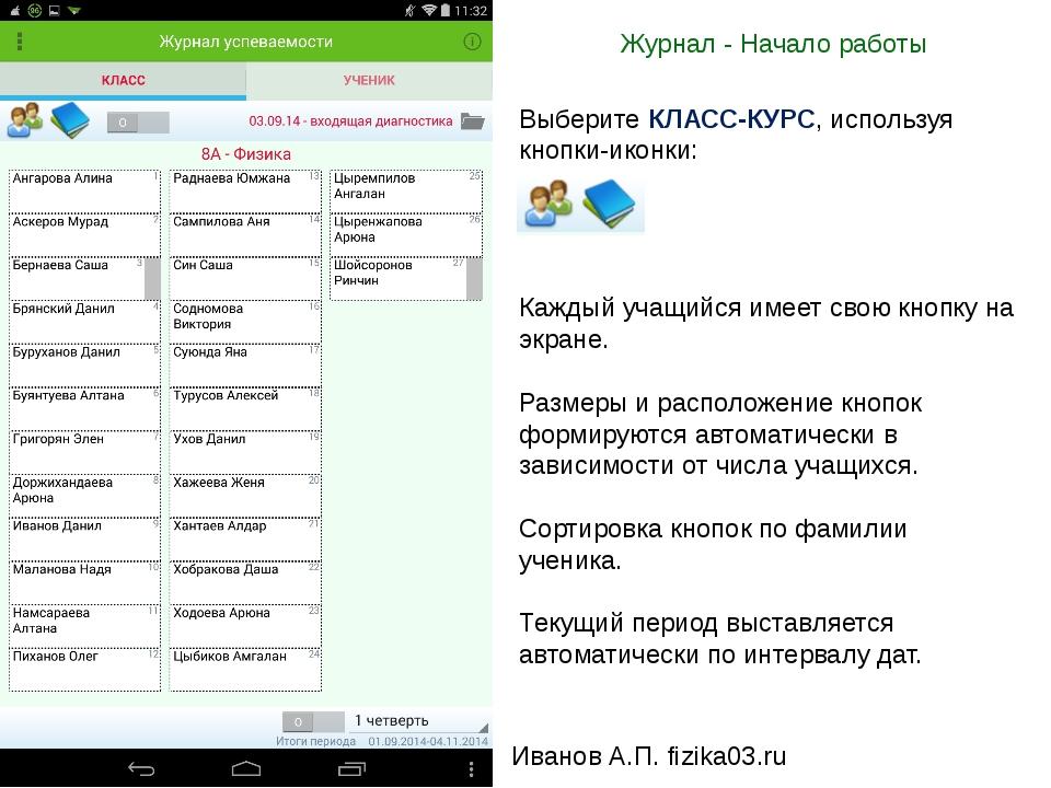 Журнал - Начало работы Иванов А.П. fizika03.ru Выберите КЛАСС-КУРС, используя...