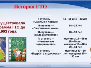 История ГТО Просуществовала программа ГТО до 1993 года. Ступень Возраст I сту