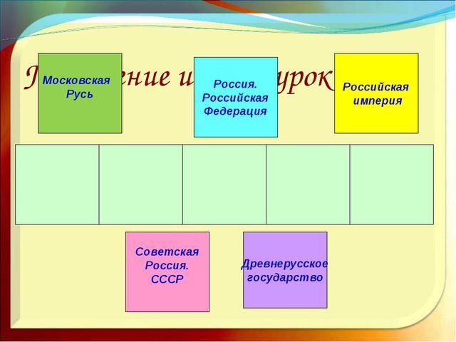 Подведение итогов урока. Древнерусское государство Московская Русь Российска...
