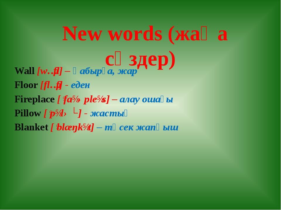 New words (жаңа сөздер) Wall [wɔːl] – қабырға, жар Floor [flɔː] - еден Firep...