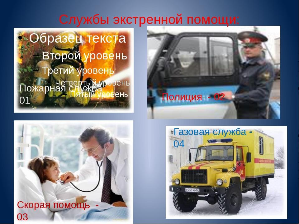 Службы экстренной помощи: Пожарная служба 01 Газовая служба - 04 Полиция - 02...