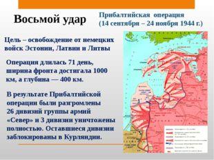 Восьмой удар Прибалтийская операция (14 сентября – 24 ноября 1944 г.) Цель –