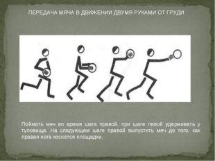 ПЕРЕДАЧА МЯЧА В ДВИЖЕНИИ ДВУМЯ РУКАМИ ОТ ГРУДИ Поймать мяч во время шага прав