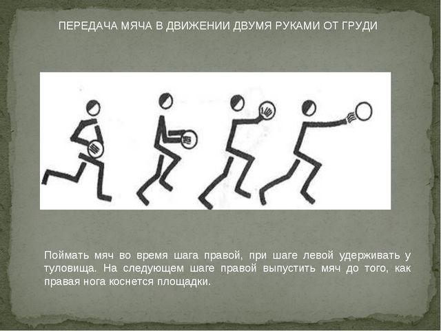 ПЕРЕДАЧА МЯЧА В ДВИЖЕНИИ ДВУМЯ РУКАМИ ОТ ГРУДИ Поймать мяч во время шага прав...