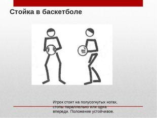 Стойка в баскетболе Игрок стоит на полусогнутых ногах, стопы параллельно или