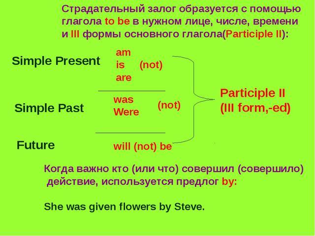 Страдательный залог образуется с помощью глагола to be в нужном лице, числе,...
