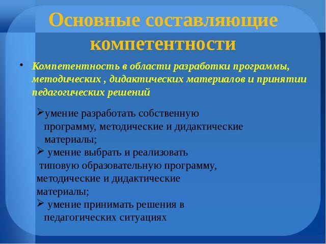 Основные составляющие компетентности Компетентность в области разработки прог...