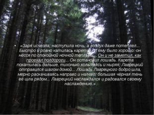 «Заря исчезла; наступила ночь, а воздух даже потеплел... Быстро и ровно катил