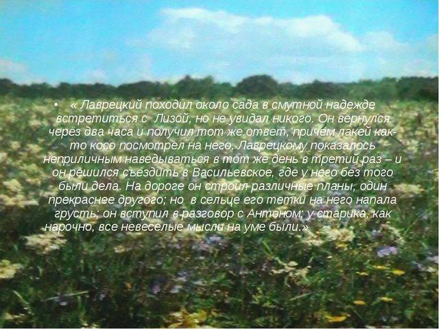 « Лаврецкий походил около сада в смутной надежде встретиться с Лизой, но не у...