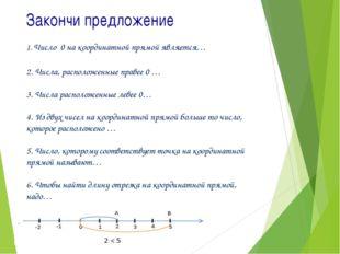 Закончи предложение 1. Число 0 на координатной прямой является… 2. Числа, рас