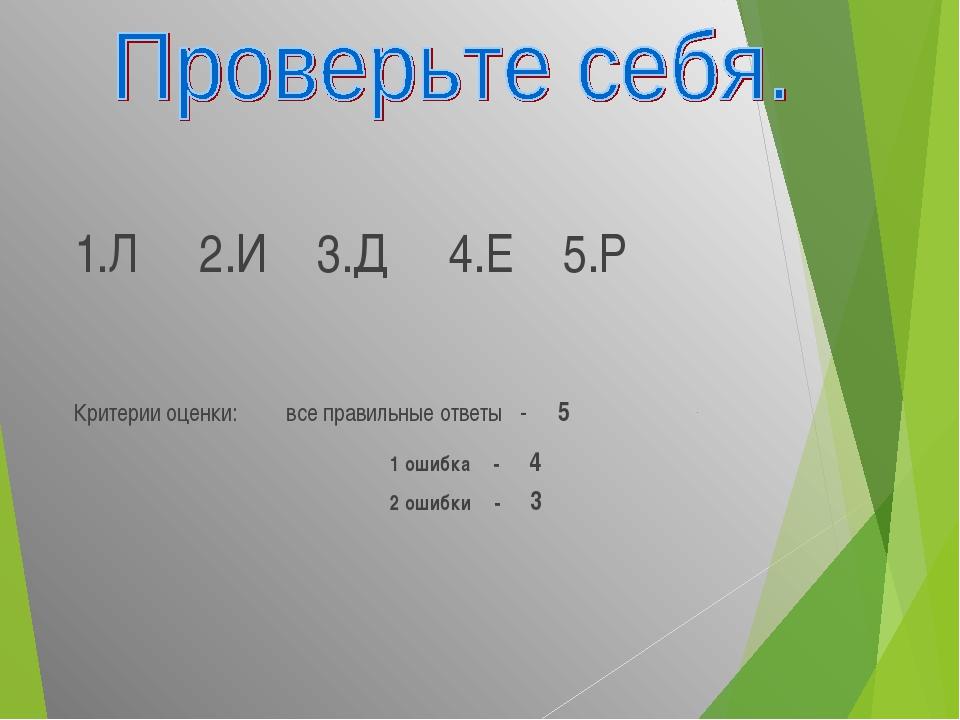 1.Л 2.И 3.Д 4.Е 5.Р Критерии оценки: все правильные ответы - 5 1 ошибка - 4 2...