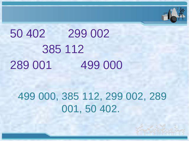 50 402 299 002 385 112 289 001 499 000 499 000, 385 112, 299 002, 289 001, 50...