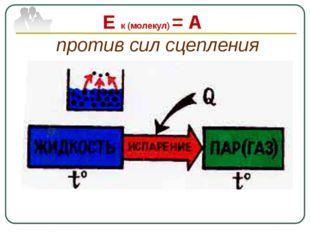 Е к (молекул) = А против сил сцепления
