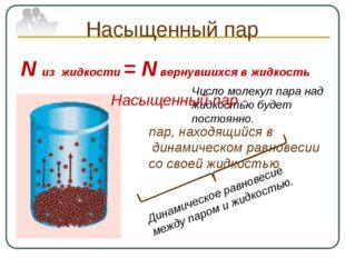 Насыщенный пар N из жидкости = N вернувшихся в жидкость Число молекул пара на
