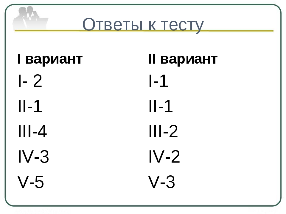 Ответы к тесту I вариант I- 2 II-1 III-4 IV-3 V-5 II вариант I-1 II-1 III-2 I...