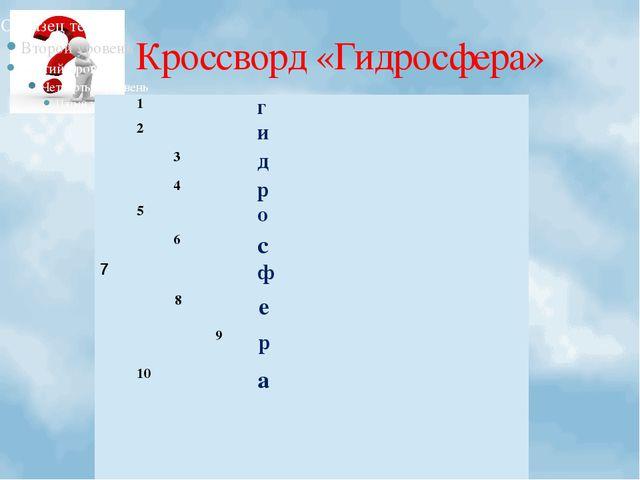 Кроссворд «Гидросфера»  1 г  2 и  3 д  4 р   5 о  6 с 7 ф  8 е 9 р 10...