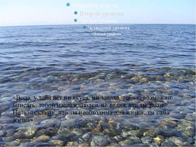 «Вода, у тебя нет ни вкуса, ни запаха, тебя невозможно описать, тобой наслаж...