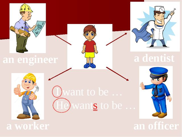 an officer a dentist an engineer a worker I want to be … He wants to be …