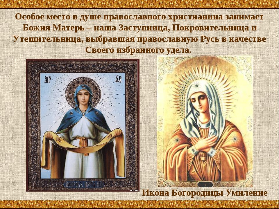 Особое место в душе православного христианина занимает Божия Матерь – наша За...