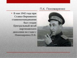 П.К. Пономаренко В мае 1942 года при Ставке Верховного главнокомандования бы
