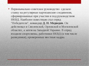 Первоначально советское руководство сделало ставку на регулярные партизански