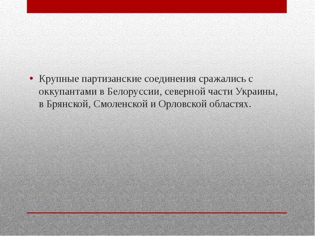 Крупные партизанские соединения сражались с оккупантами в Белоруссии, северн...