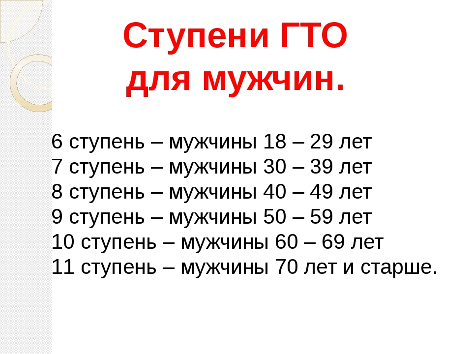 Ступени ГТО для мужчин. 6 ступень – мужчины 18 – 29 лет 7 ступень – мужчины 3...