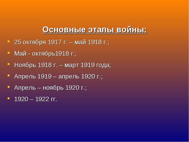 Основные этапы войны: 25 октября 1917 г. – май 1918 г.; Май - октябрь1918 г.;...