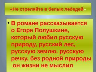 «Не стреляйте в белых лебедей» В романе рассказывается о Егоре Полушкине, кот