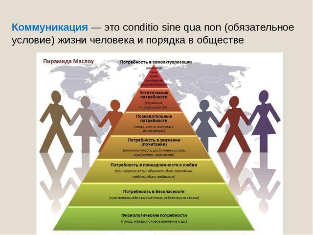 Коммуникация— это conditio sine qua non (обязательное условие) жизни человек...