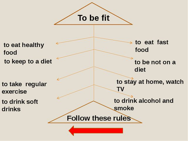To be fit to eat healthy food to keep to a diet to take regular exercise to...