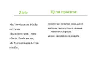 -формирование иноязычных знаний, умений; -вовлечение участников проекта в акт