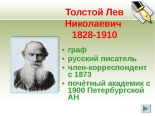 Толстой Лев Николаевич 1828-1910 граф русский писатель член-корреспондент с 1